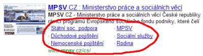Populární odkazy pro ministersvo práce a soc. věcí
