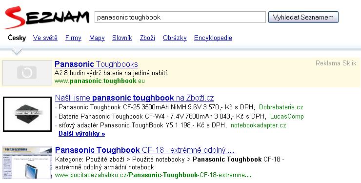 Vyhledávání na Seznamu - chybí screenshot u Skliku