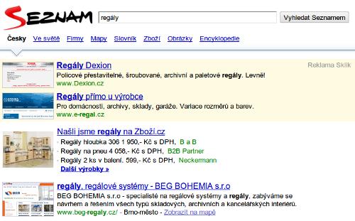 Vyhledávání na Seznamu - screenshoty u Skliku