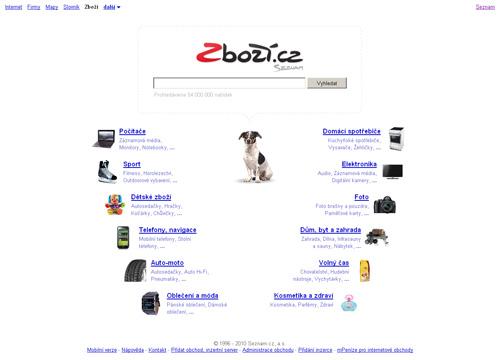 Zboží.cz - screenshot úvodní stránky