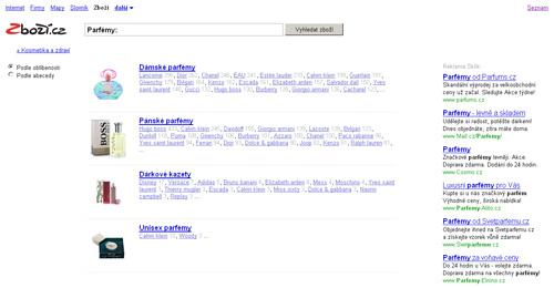 Zboží.cz - screenshot zrychleného hledání