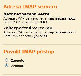 Screenshot Email rozhraní - ukázka zapnutí IMAP