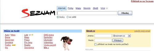Screenshot Homepage Seznam.cz