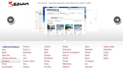 Služby na Seznamu - screenshot