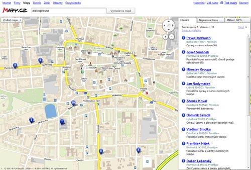 Screenshot - hledání v okolí