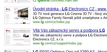 ukázka dvou výsledků na dotaz LG