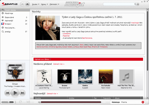 Aplikace Music Jet - screenshot