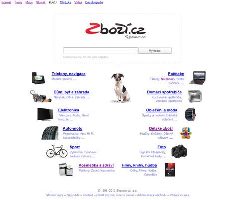 Zboží.cz - titulní stránka - screenshot