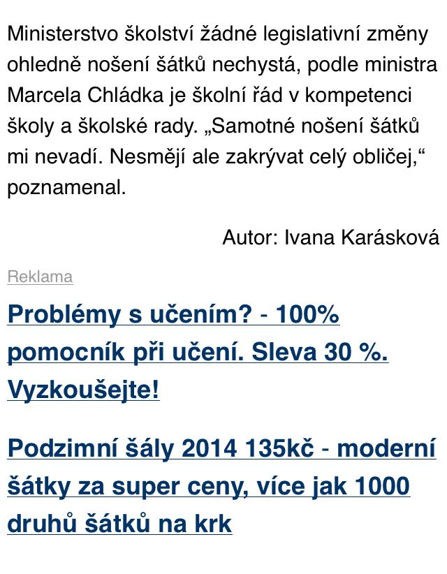 Reklamní plocha Sklik v mobilu pod článkem na iDNES.cz