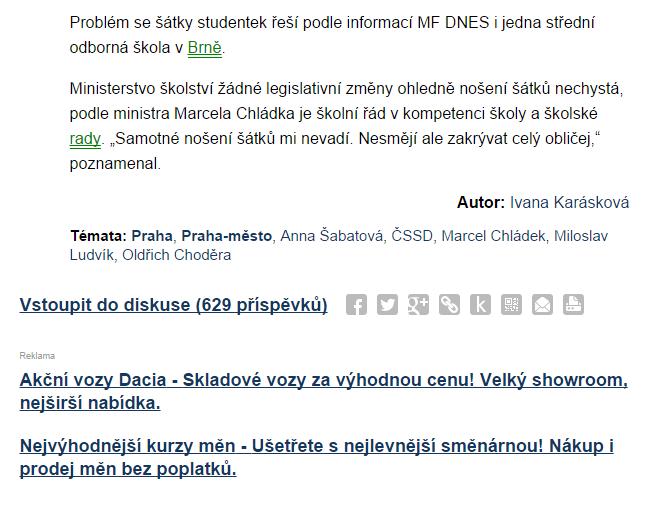 Reklamní plocha Sklik pod článkem na iDNES.cz