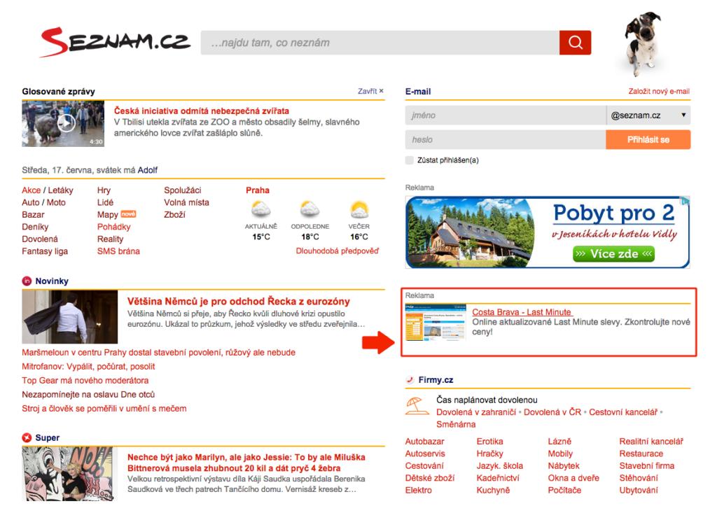 Homepage Seznam.cz