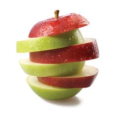 Rozřezané kousky ze dvou jablek jsou poskládány opět do tvaru jablka. Pravidlo seskládání říká, že nahoře je červený kousek, pak zelený kousek, pak zase červený a tak dále.