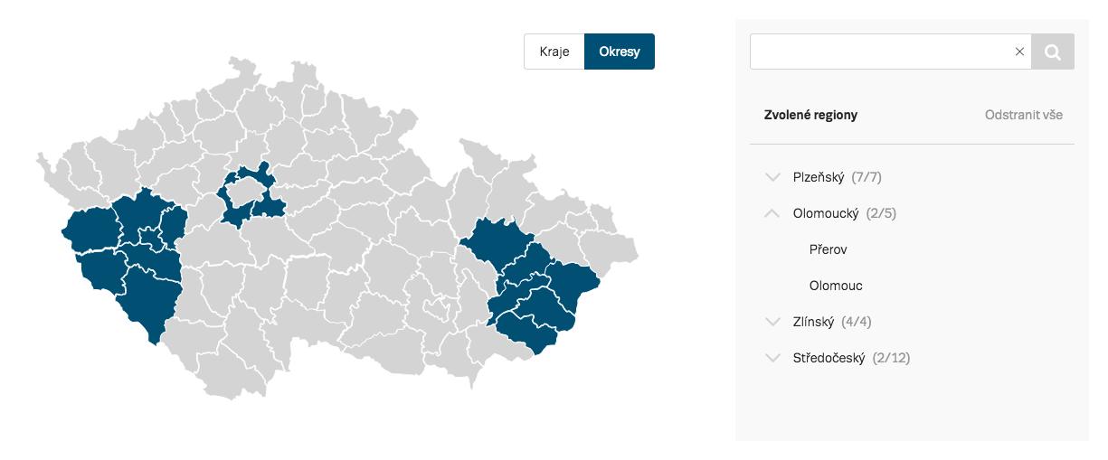 Ukázka cílení na okresy s možností výběr pomocí roletky nebo dle okresů